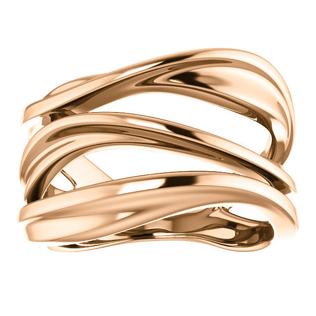 14k rose gold modern open negative space chunky ring