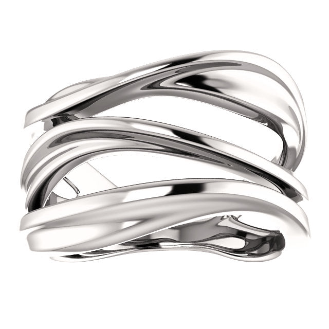 14k white gold open space chunky ring