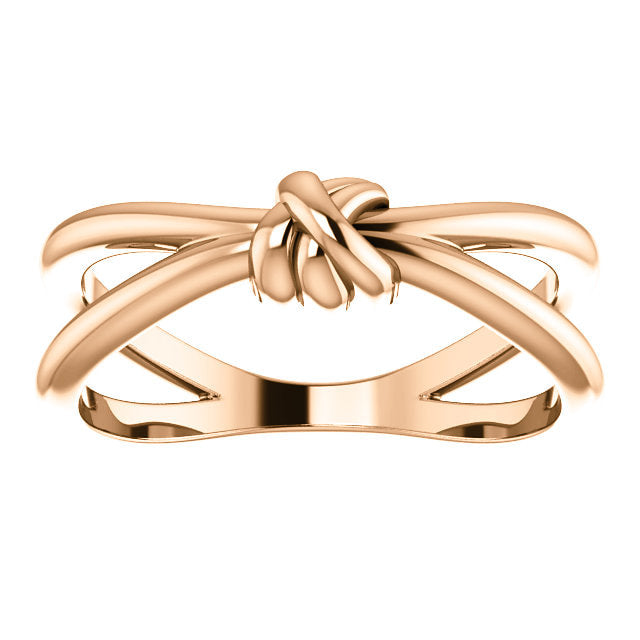 14k rose gold love knot open space ring
