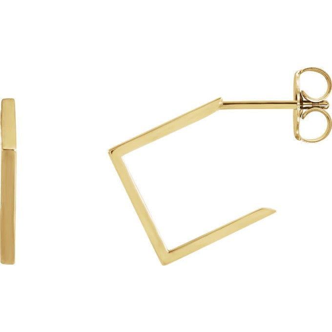 Yellow Gold Square Geometric Hoop Earrings