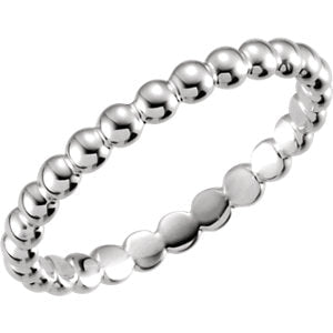 Modern Minimal Beaded Stackable Ring - 14K White Gold {More Options}