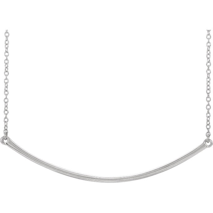 White Gold Curved Bar Necklace