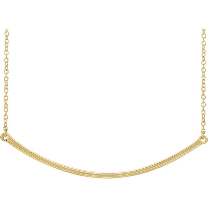 14K Yellow Gold Curved Bar Necklace
