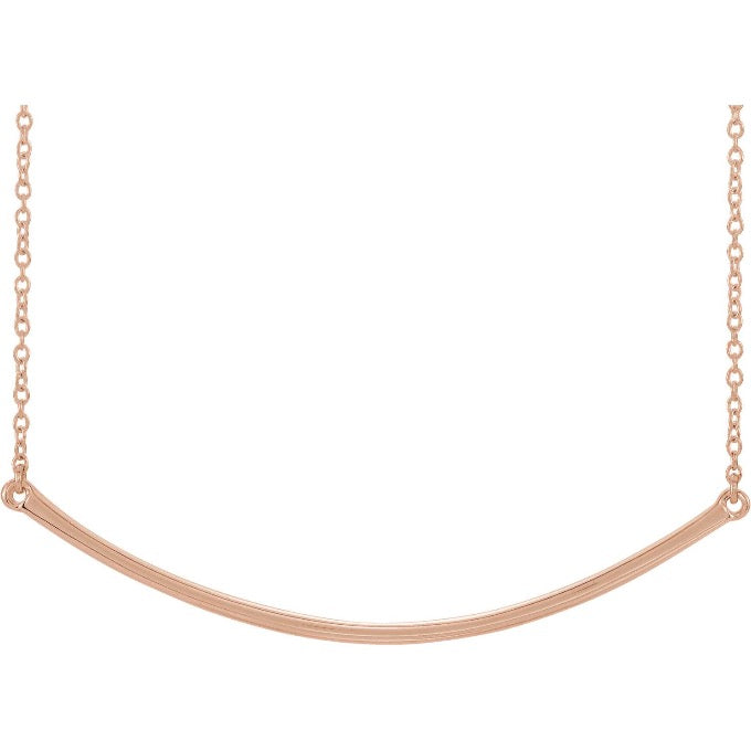 Rose Gold Curved Bar Necklace | Abrau Jewelry