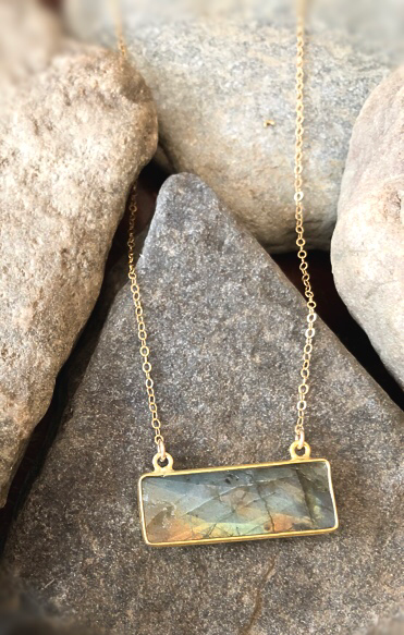 gold filled labradorite gemstone bar necklace