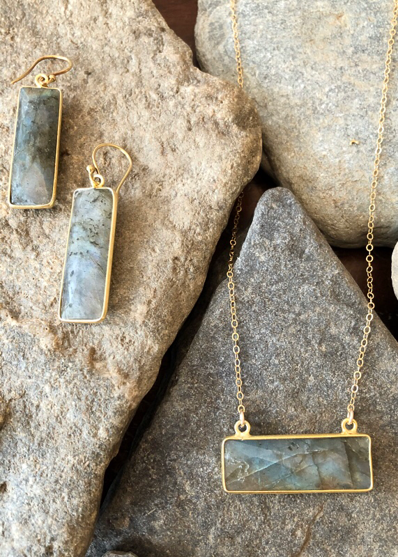 matching set sold separately - labradorite bar necklace and earrings in gold filled
