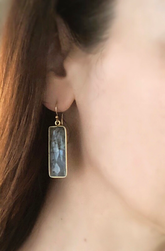Gemstone bezeled labradorite bar earrings in gold