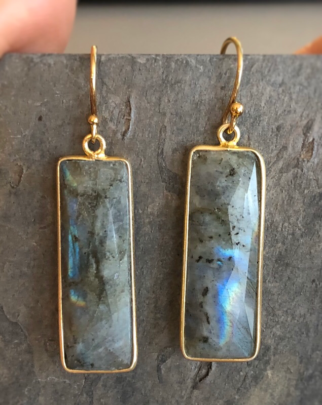 vertical gemstone bar earrings in labradorite with gold edging
