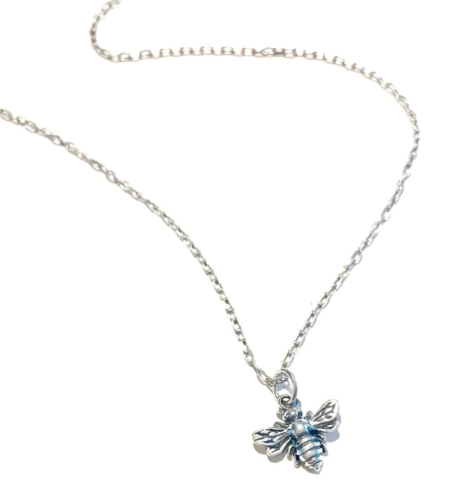sterling silver honey bee pendant necklace