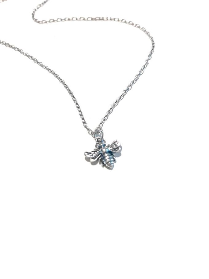save the bees honey bee pendant necklace in sterling silver