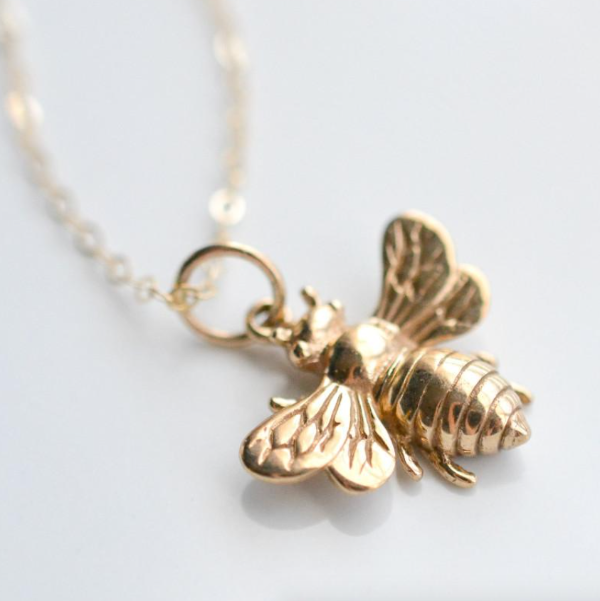 Gold bumblebee honey bee necklace