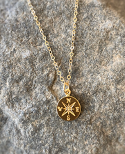 Tiny Compass Necklace New Beginnings or Graduation Gift