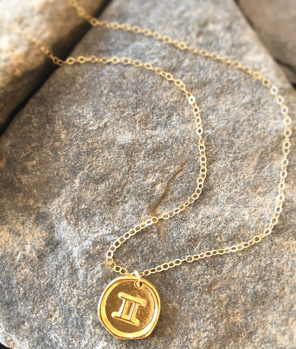Gold Horoscope Astrological Sign Coin Necklace