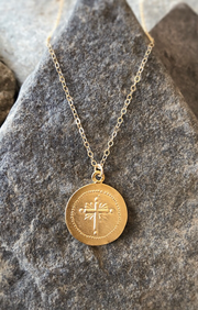 religious coin pendant necklace in gold - cross coin replica