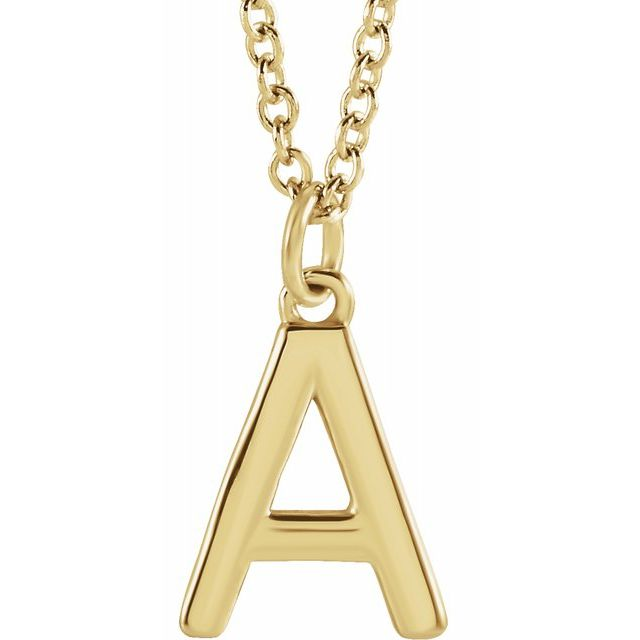 yellow gold initial letter pendant necklace