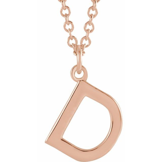 14k rose gold pendant letter initial necklace