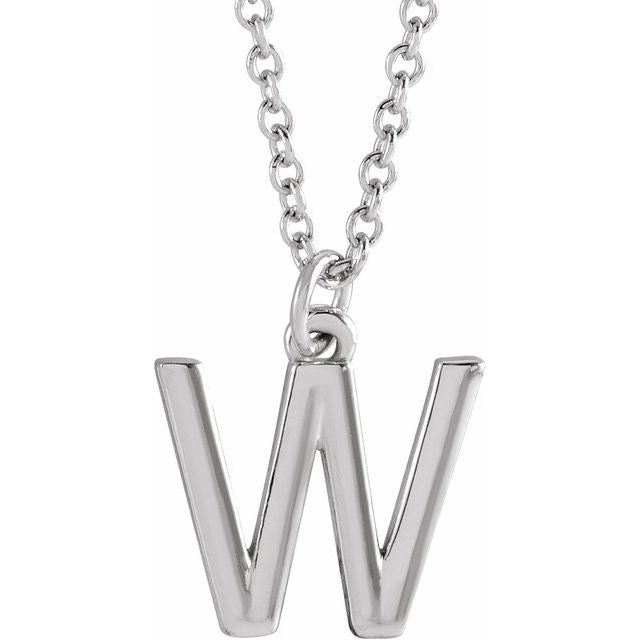 14k white gold personalized letter initial necklace