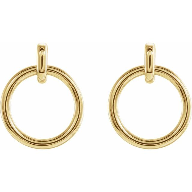 yellow gold hoop circle dangles