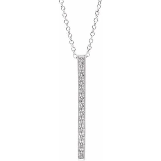 14K White Gold Vintage Inspired Bar Necklace