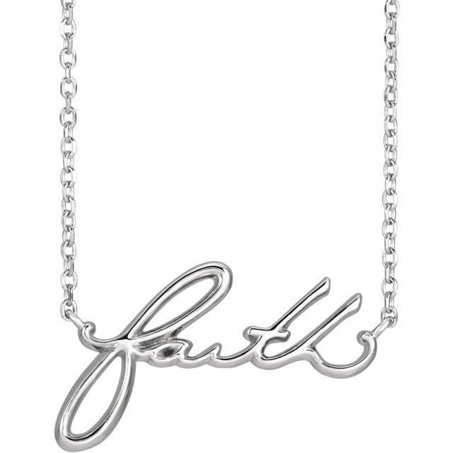 Faith script message  name necklace in sterling silver
