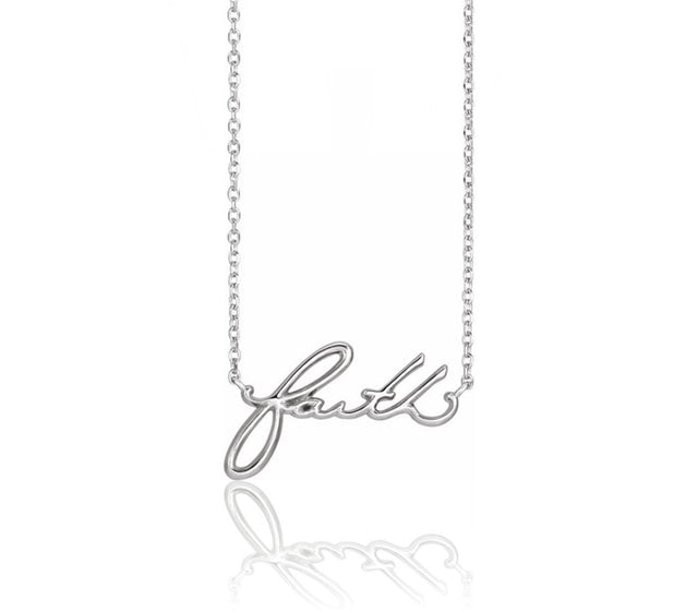 Faith Script Necklace in Sterling Silver