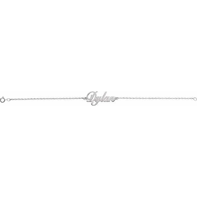 14k White Gold Script Name Bracelet | Abrau Jewelry