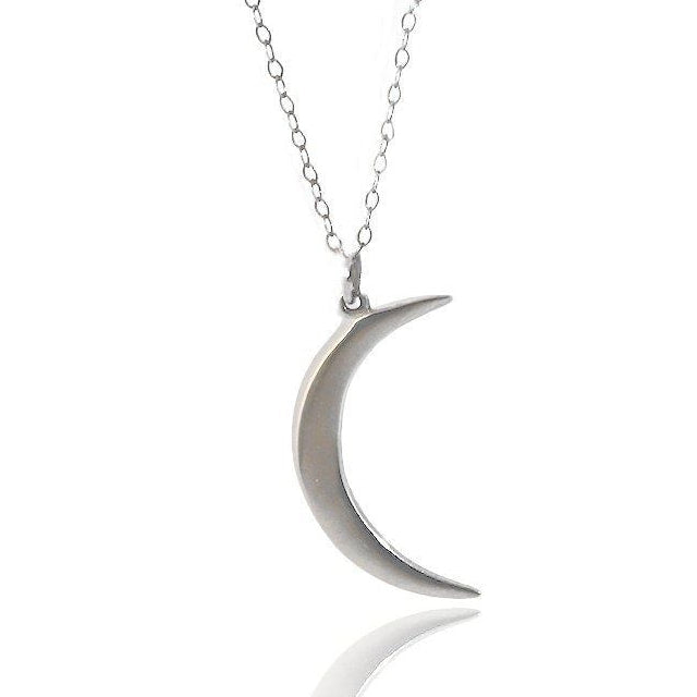 New Beginnings - Crescent Moon Pendant Necklace - Silver or Gold 16