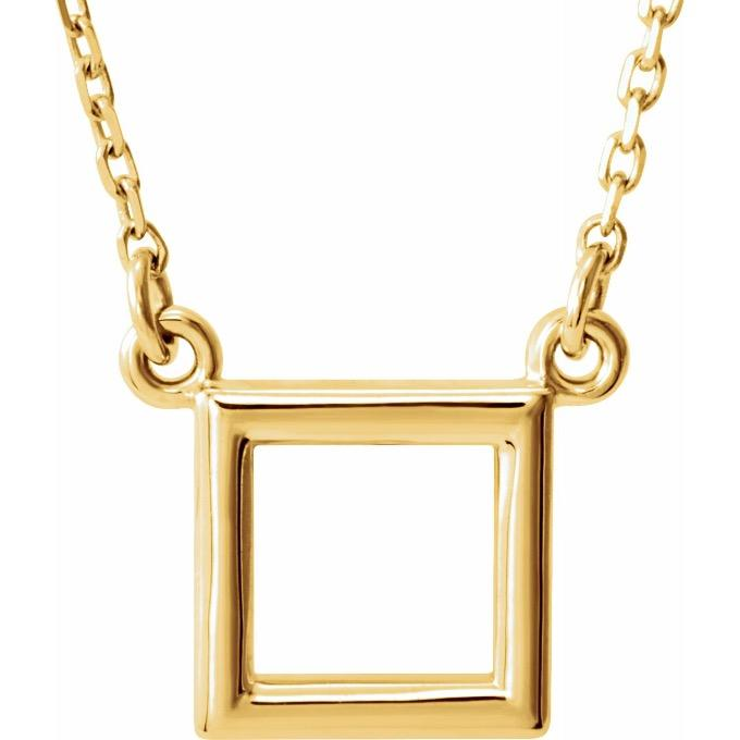 14k yellow gold geometric square necklace