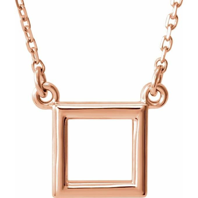 14k rose gold geometric square necklace