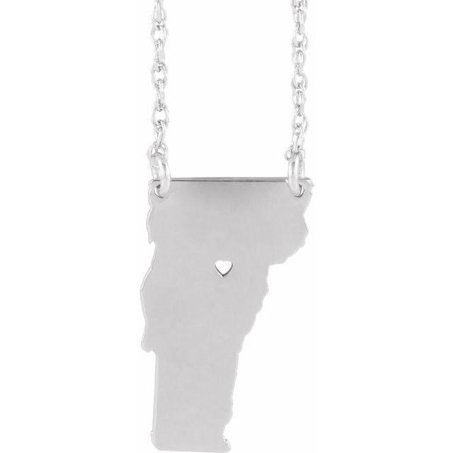 Home choose your state necklace in 14k white gold