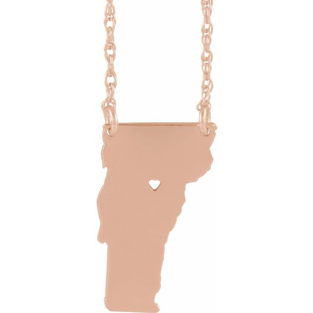 14k rose gold home state love necklace