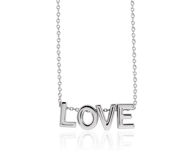 sterling silver love word charm necklace