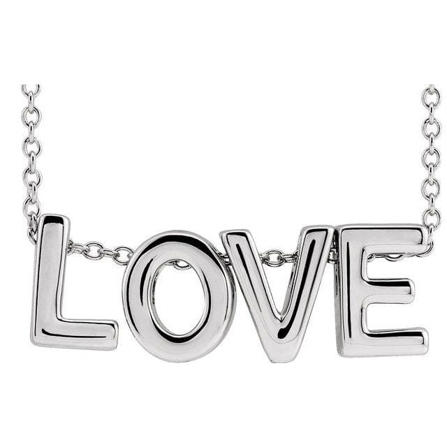 Love message charm necklace in sterling silver
