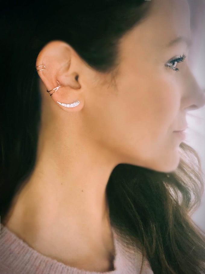 stacking earrings with sterling silver ear climbers and ear cuffs