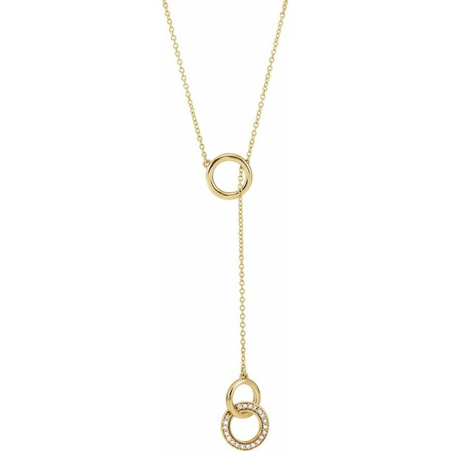 Samantha - 14K Solid Gold 1/10 CTW Diamond Circle Y 16-18