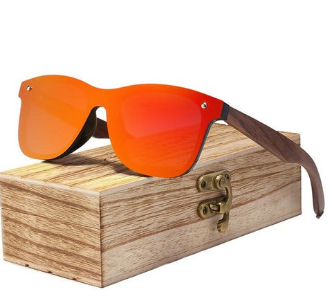 Infinity Walnut Wood Sunglasses - Red