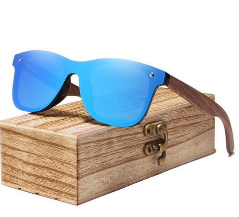 Infinity Walnut Wood Sunglasses - Blue