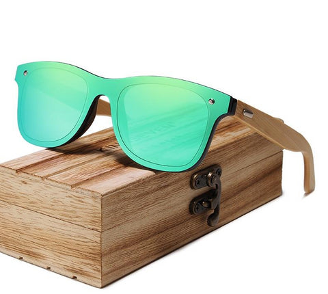 Infinity Walnut Wood Sunglasses - Green