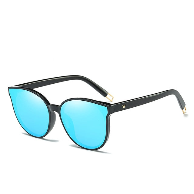 Luxury Flat Top Cat Eye Women Sunglasses - Blue