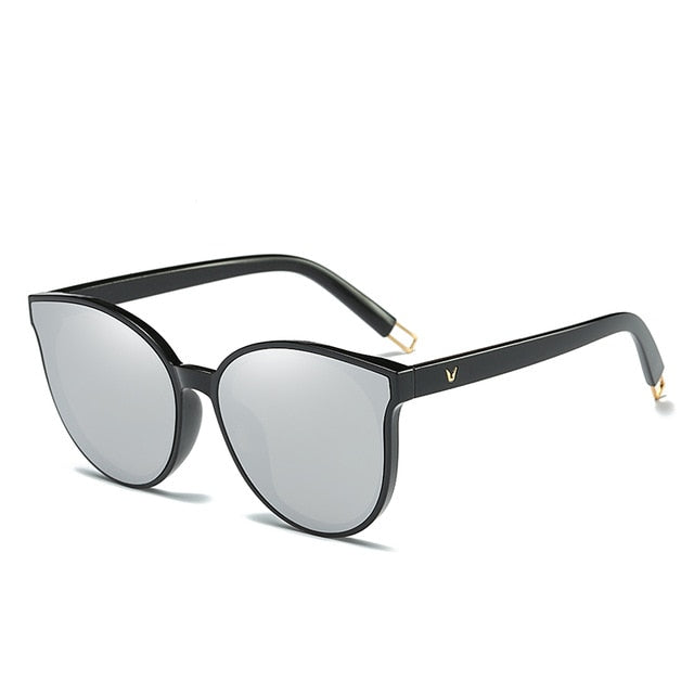 Luxury Flat Top Cat Eye Women Sunglasses - Silver