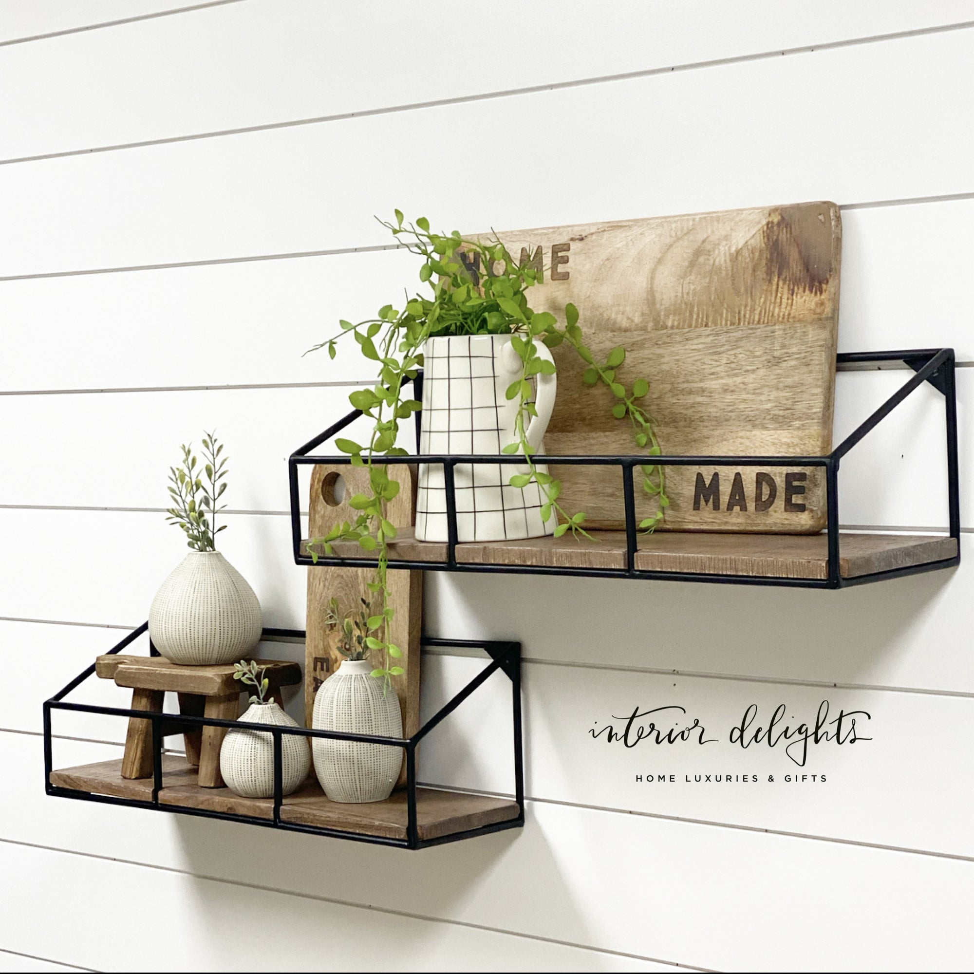 Iron and Wood Shelf Set