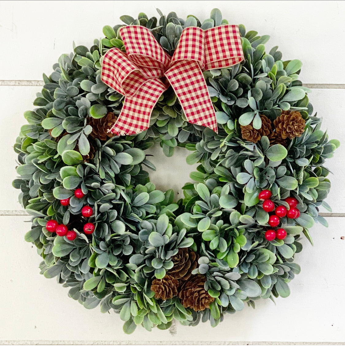 "SOLD OUT 11"" Flocked Boxwood wreath"