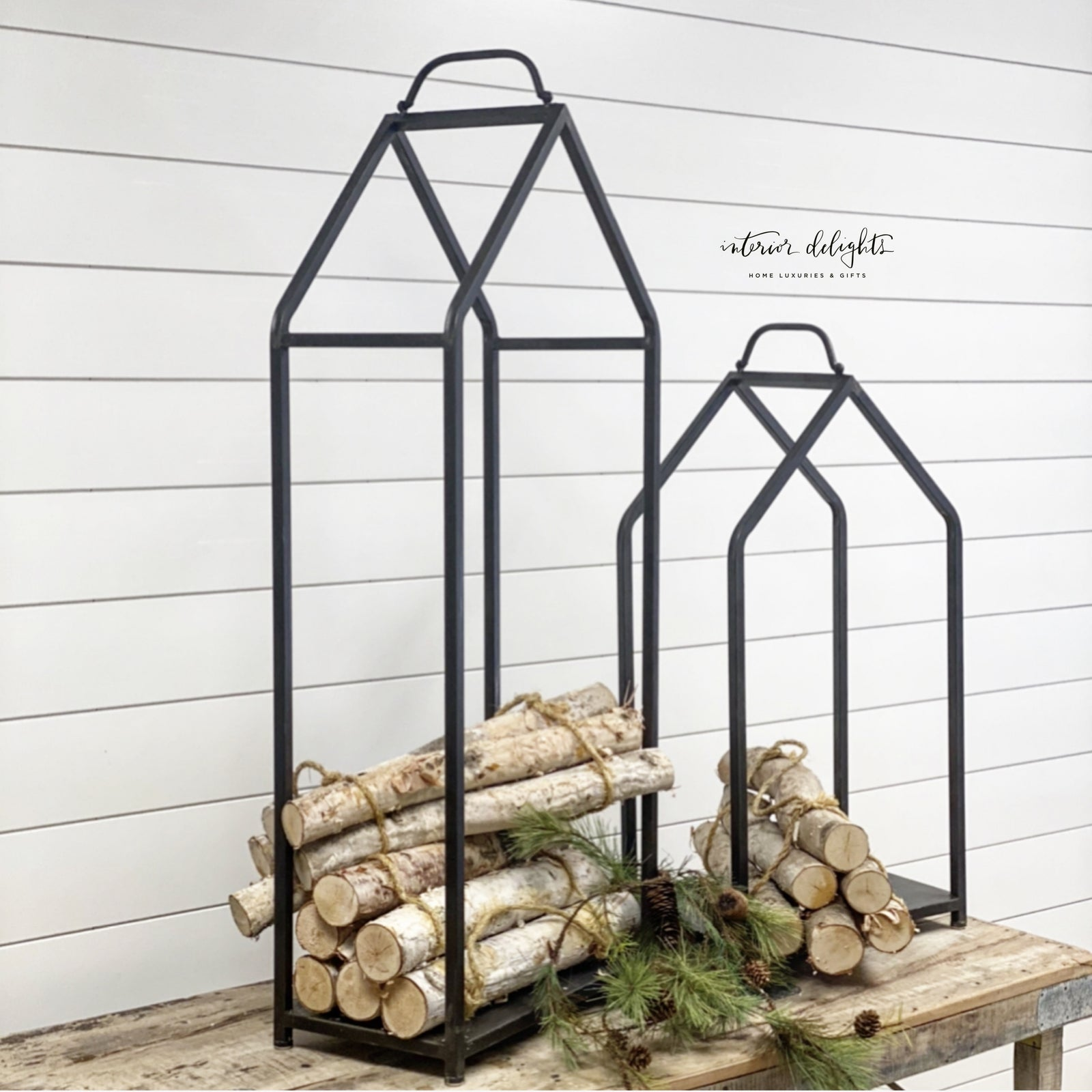 House Shaped Log Holders -Set of Two
