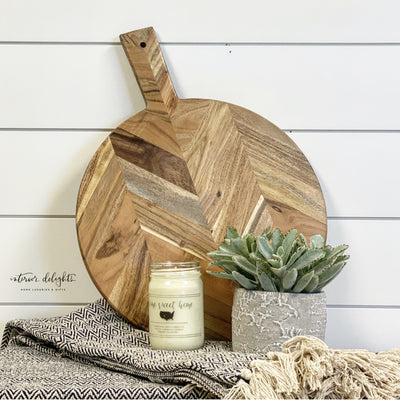 SOLD OUT-Chevron Round Cutting Board