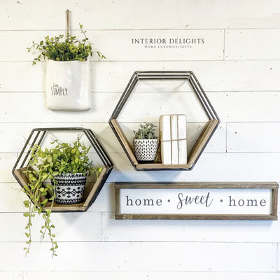 Wood and Metal Hexagon Shelf Set - Interior Delights Parker