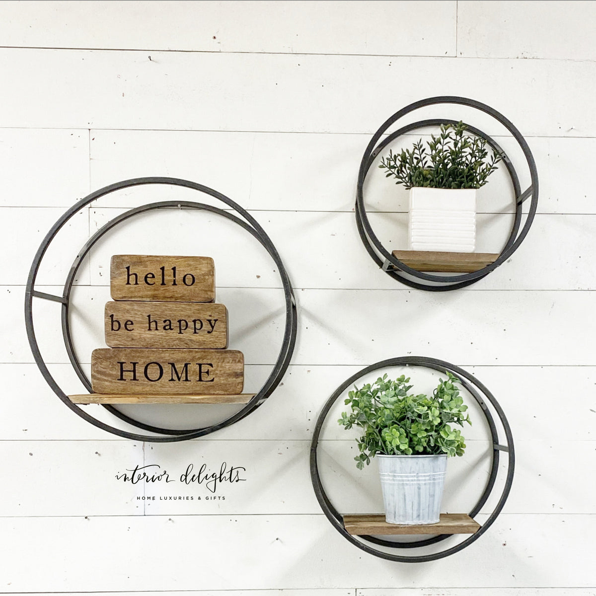 Set of 3 Round Wall Shelves - Interior Delights Parker
