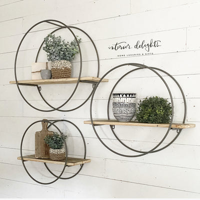 Large Group of 3 Circular Shelves with Reclaimed Wood - Interior Delights Parker