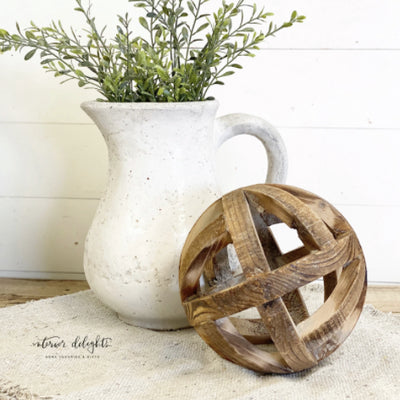 "( Large)10"" wooden orb - Interior Delights Parker"