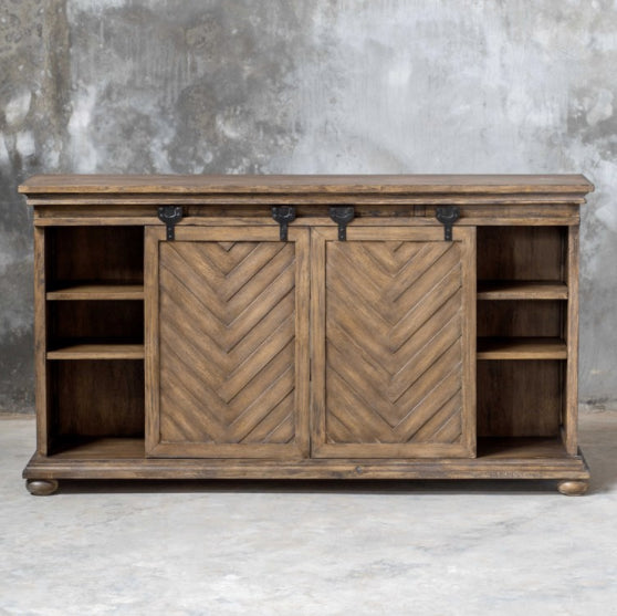 Herringbone Media cabinet