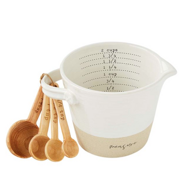 Stoneware Measuring Cup & Wooden Spoon Set